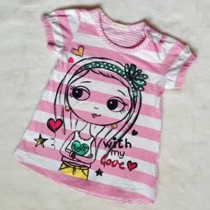 Other - 🎀 Cute pink striped tee with girl print