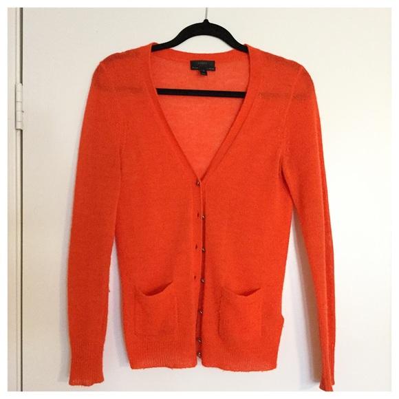 91% off J. Crew Sweaters - Neon Orange J. Crew Cardigan from ...