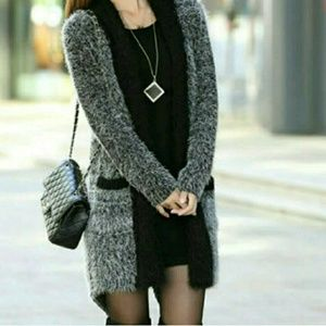 Sweaters - Tuxedo Style Knitted Open Cardigan
