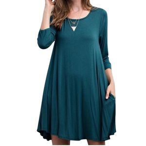 Southern Girl Fashion Dresses & Skirts - SWING DRESS Draped Pullover Pocket Swingy L/S Mini