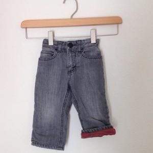 Old Navy Other - Old Navy- Straight Fit Lined Grey Jeans 12-18 months
