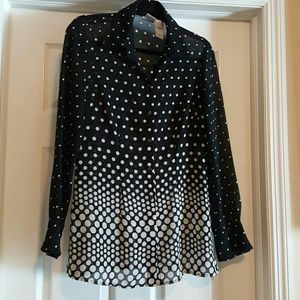 Emma James Tops - Polka dot black and white blouse