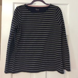 Boden navy and gold striped shirt