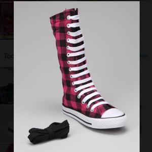 Other - Pink and Black Plaid Knee High Sneakers