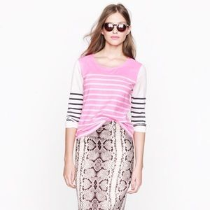 FINAL $SALE! Jcrew Printed Color Block Striped Top