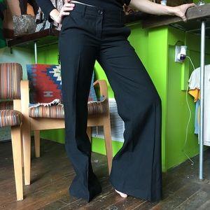 Theory dark black plaid wide leg pants