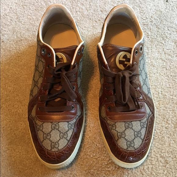 003a66bea2f Gucci Other - Men s Gucci Crocodile leather trim GG sneaker