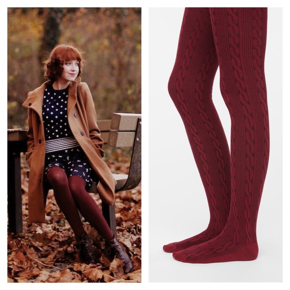 02fcce1e338 Urban Outfitters burgundy knit tights