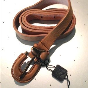 D&G Accessories - D&G by Dolce & Gabbana Tan Skinny Leather Belt