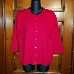 Lord & Taylor Sweaters - Red Lord & Taylor 2 Ply Cashmere Cardigan L