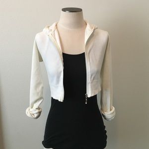 Forever 21 Tops - Forever 21- Crop Cream Velour Hoodie sz S