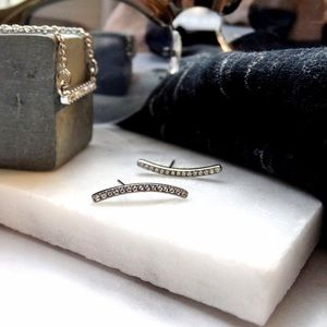 Curved Pave Bar Earrings