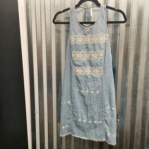 Free People Embroidered Chambray Dress