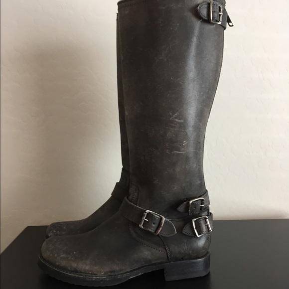 e1d04fd43d271 Frye Shoes - Frye Veronica back zip tall stonewash boots 9