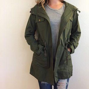 Jackets & Blazers - Olive Hooded Utility Jacket