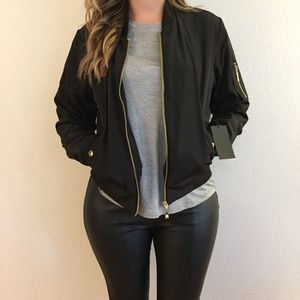 Jackets & Blazers - Lightweight Black Bomber Jacket