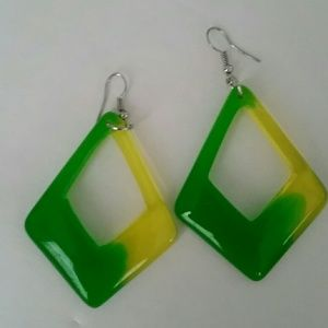 NWOT Green and Yellow Dangle Earrings