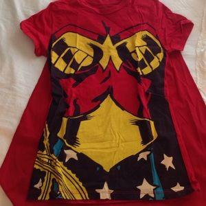 D.C. Wonder woman shirt with cape