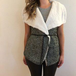 Jackets & Blazers - Faux Fur Lined Belted Tweet Vest