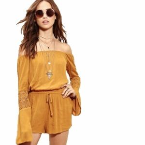 Forever 21 Pants - F21 // mustard yellow off the shoulder romper