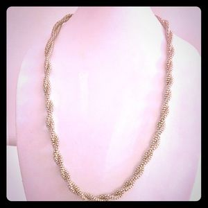 Silver twisted snakeskin chain necklace
