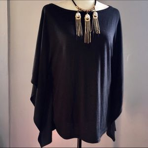 Trouve Tops - Black Batwing Top