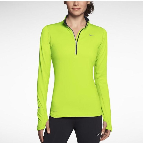 8bfd6b6d Nike Tops | Womens Lime Green Half Zip Running Top | Poshmark