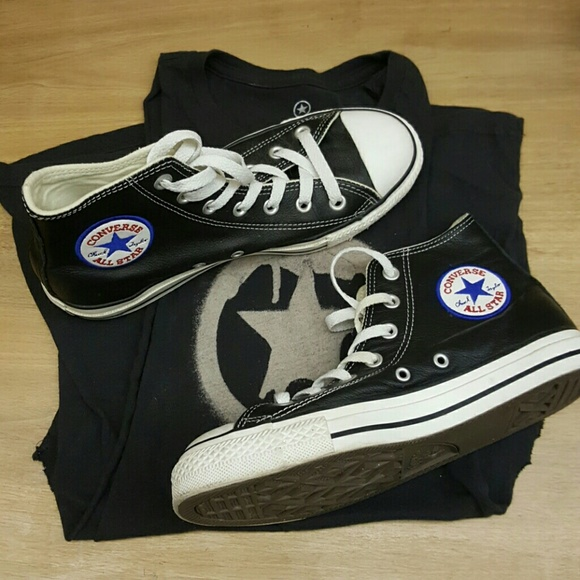 d85e84030ef81d Converse Shoes - Vintage Black Leather Converse High Tops