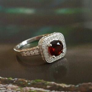 Glamouresq  Jewelry - 925 Garnet & Sapphire Ring NWOT