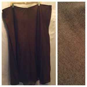 Brown stretch midi skirt 3X/4X