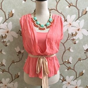 "Anthropologie ""HD Paris"" Coral Tie Waist Top"