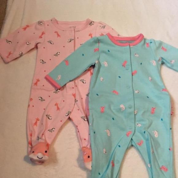 Carters Dresses | Bundle Of Two Footed Sleepers | Poshmark