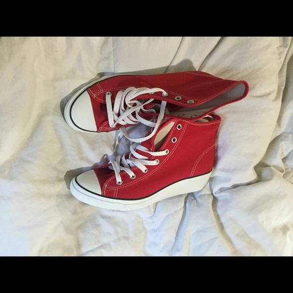 Red Converse Wedge Sneaker Rare   Poshmark
