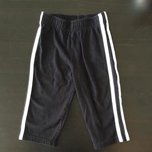 Disney Baby (12m) black sweatpants with two white stripes at the sides