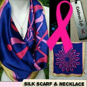 Vintage Pink Ribbon Necklace & Nicole Miller Scarf