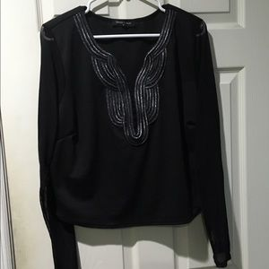 Fashion to Figure Tops - Black crop top with detail