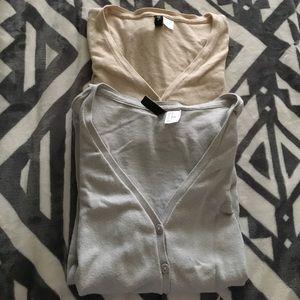 2 for $10 - H&M Light Gray Cream Cardigans