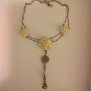 Flower Necklace in Ivory and Gold with Tassel