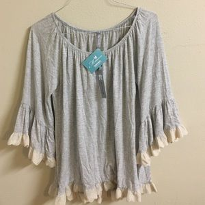 2tee Couture Tops - Off the Shoulder Flowy Grey Top