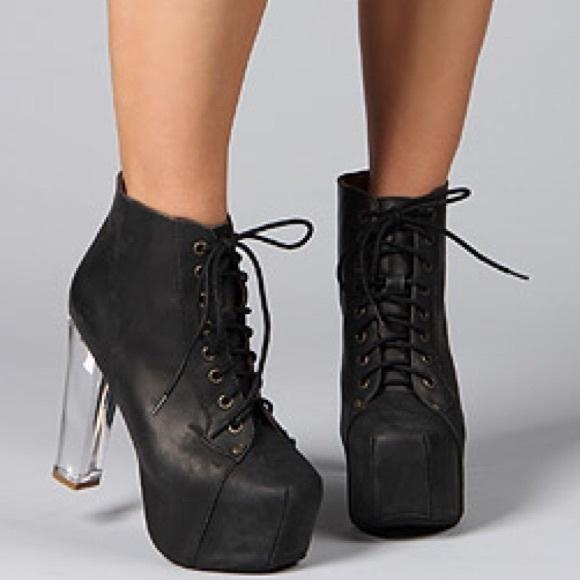 Jeffrey Campbell Shoes - Jeffrey Campbell black Lita boot clear lucite heel