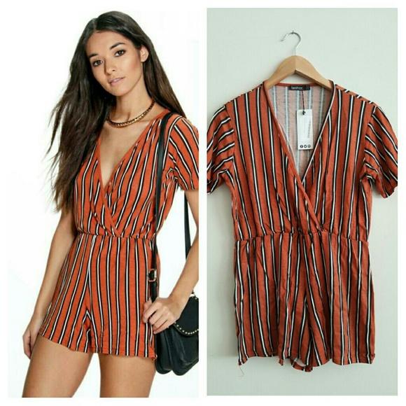 67640f0b46 Boohoo Womens Tara Striped Wrap Front Playsuit