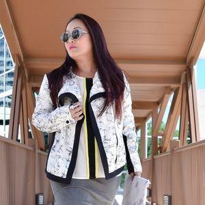 Jackets & Blazers - B&W Marble Print Moto Jacket