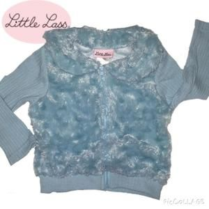 Little Lass Other - Baby bright blue zip up fur sweater 2t