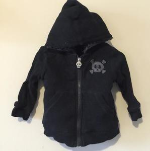 Amy Coe Other - Amy Coe boys warm zip jacket sweatshirt hoodie skull crossbones black sz 12 mon