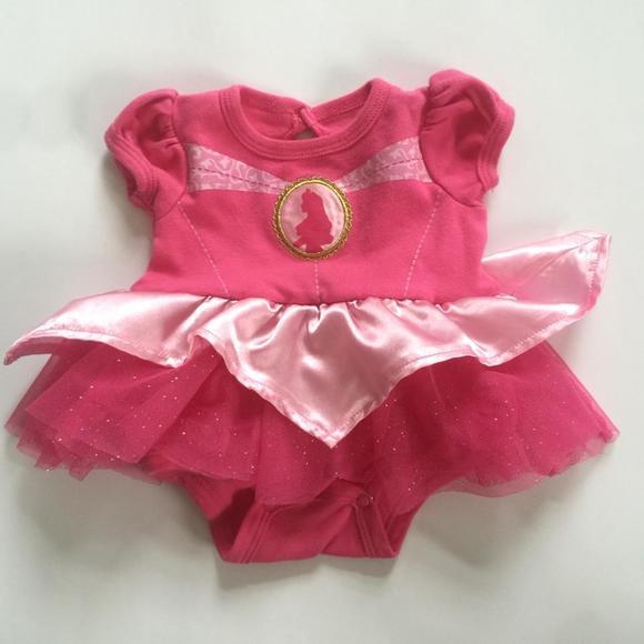 37b3d2563c9449 Disney Other - Disney Baby NB pink princess dress onesie Ruffles sequins  short sleeve sleeping beauty