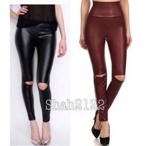 Boutique Pants - Wine cut out slit high waist faux leather leggings