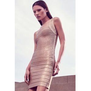 Herve Leger Dresses & Skirts - HERVE LEGER FOIL PRINT GOLD LULU BANDAGE DRESS