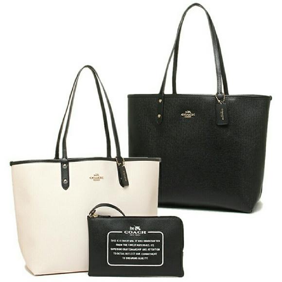 75a7a9199e Coach Bags | Nwt Reversible Black And White Tote | Poshmark