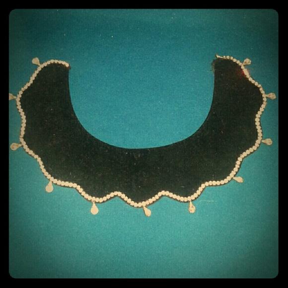 Vintage Jewelry - Vintage 60s mod velvet and rhinestone collar