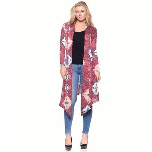 Sweaters - Red Aztec Print Cardigan Duster